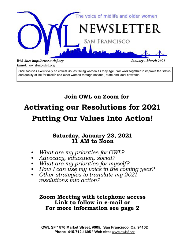 Jan-March 2021 Newsletter